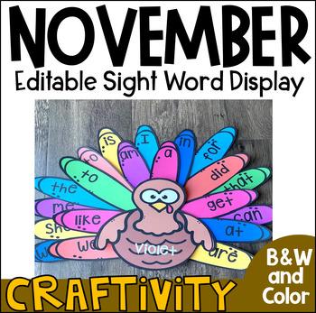 Turkey Sight Word Activity Display Chart {EDITABLE}