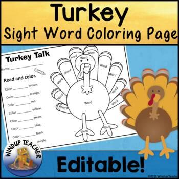 Turkey Sight Word Coloring Sheet Activity *Editable