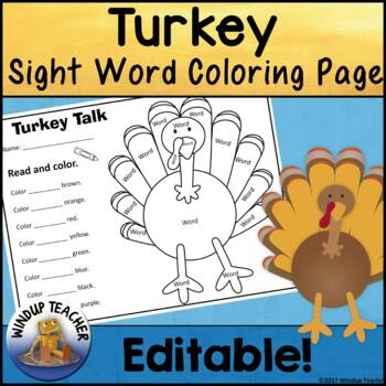 Turkey Sight Word Coloring Sheet Activity Editable