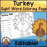 Turkey Sight Word Coloring Sheet Activity   Editable