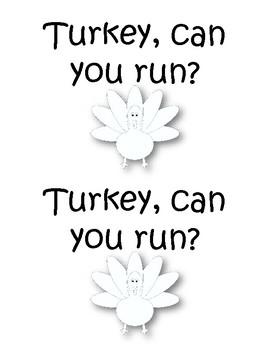 Turkey Sight Word Early Reader
