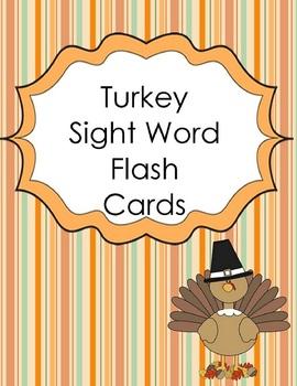 Turkey Sight Word Flash Cards
