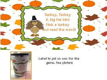 Turkey Sight Word Game