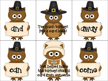 Turkey Sight Word Game