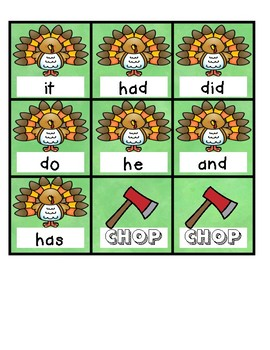 Sight Word Turkey CHOP Game