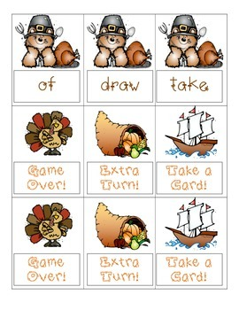 Turkey Sight Word Games