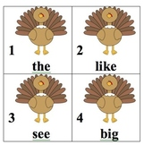 Editable Turkey Sight Word Search