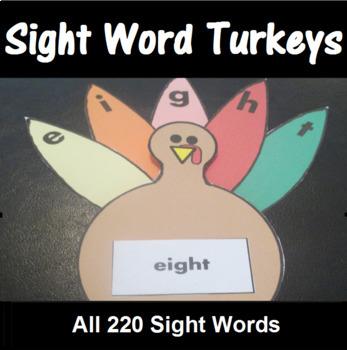 Turkey Sight Word Spelling Center All 220 Sight Words