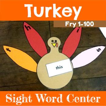 Turkey Sight Word Spelling Center Fry 1-100