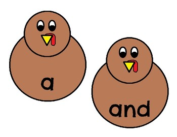 Turkey Sight Word Spelling Center Pre-Primer List