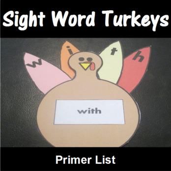 Turkey Sight Word Spelling Center Primer List