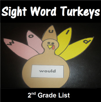 Turkey Sight Word Spelling Center Second Grade