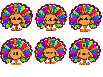 Turkey Sight Words - Dolch Sight Word Games