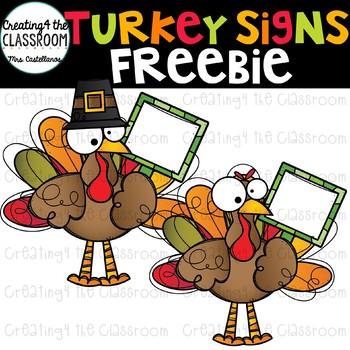 Turkey Signs Clipart FREEBIE {Turkey Clipart}
