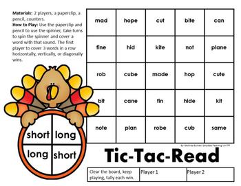 Turkey Silent E Spinner Word Fluency Center Game