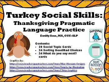Turkey Social Skills: Thanksgiving Pragmatic Language Practice