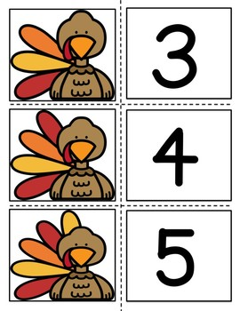 Turkey Sort and Match Activity Set