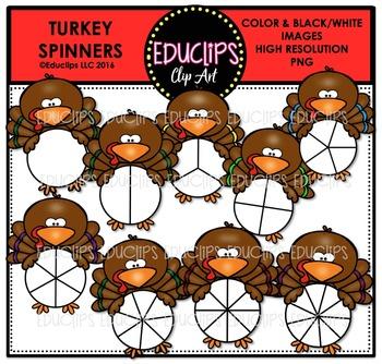 Turkey Spinners Clip Art Bundle  {Educlips Clipart}