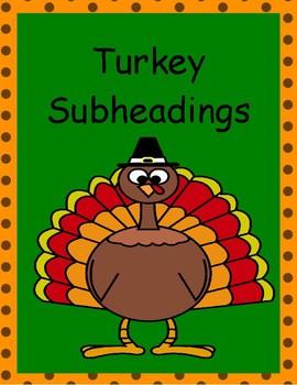 Turkey Subheadings Worksheet