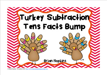 Turkey Subtraction 10 Facts Bump FREEBIE