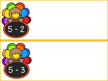 Turkey Subtraction Mats with Numbers up to 10