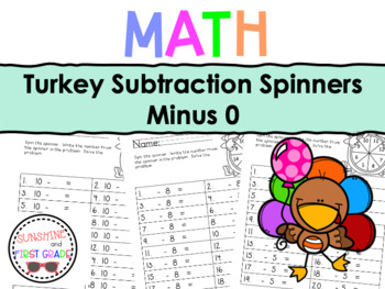 Turkey Subtraction Spinners Minus 0