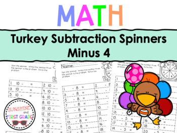Turkey Subtraction Spinners Minus 4