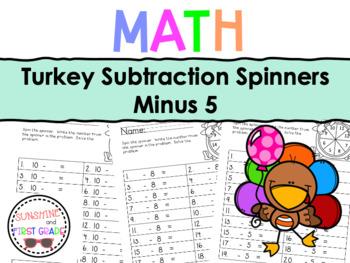 Turkey Subtraction Spinners Minus 5