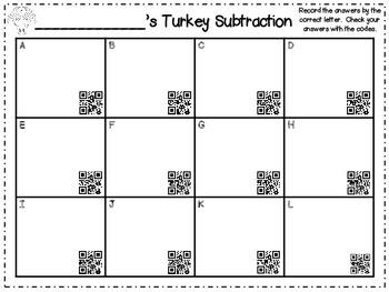 QR Codes ~ Turkey Subtraction