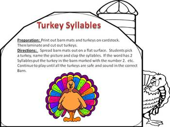 Turkey Syllables, Clap the syllables and have Thanksgiving Fun!