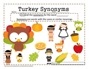 Turkey Synonyms Freebie
