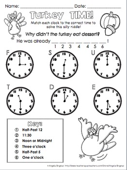 Thanksgiving Time Practice {to the Hour, Half Hour, Quarter Hour, and more!}