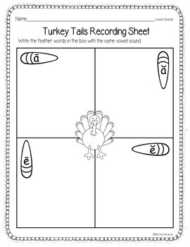 PHONICS SORT: Turkey Tails Literacy Center