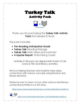Turkey Talk Activity Pack