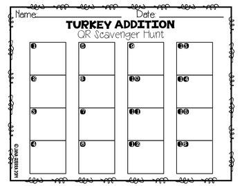 Turkey Talk: Addition QR Scavenger Hunt