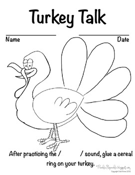 Cereal Craft: Turkey Articulation Worksheet