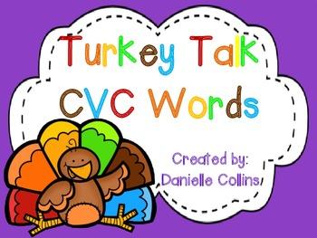 Turkey Talk CVC Word Building FREEBIE