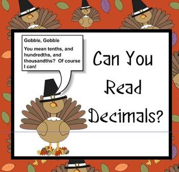 Turkey Talk Decimals - Can You Read Decimals