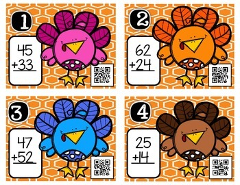 Turkey Talk: 2-Digit Addition (without regrouping) QR Scavenger Hunt