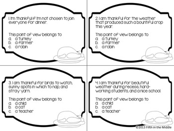 FREE Thanksgiving Point of View and Editing Task Cards for Upper Elementary