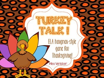 Turkey Talk! Hangman style ELA game for Thanksgiving