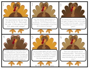 Turkey Talk: Math Station Activity {Problem Solving} Thanksgiving FREEBIE