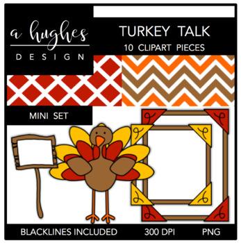 Turkey Talk Mini Clipart Bundle {A Hughes Design}