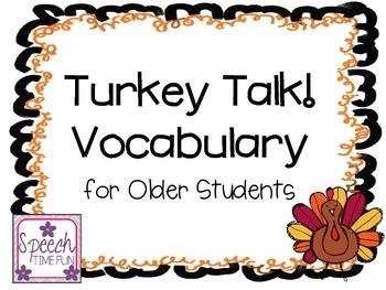 Turkey Talk Older Grades Vocabulary
