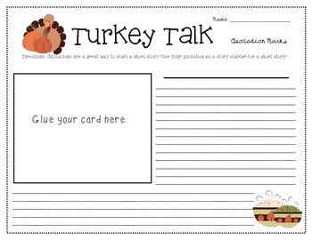 Turkey Talk Quotation Marks Task Cards & Activities (Grades 3-5)