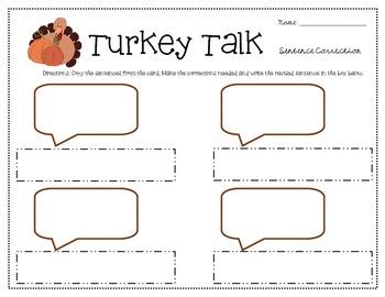 Turkey Talk Sentence Correction Grades 3-5 ELA