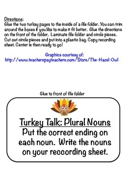 Turkey Talk Singular and Plural Noun File Folder Center