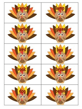 Turkey Talk Singular and Plural Noun File Folder Center