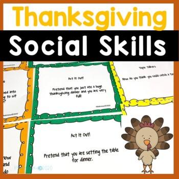 Turkey Talk Thanksgiving Social Skills Task Cards