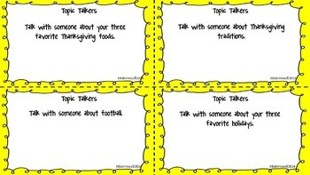 Turkey Talk Thanksgiving Social Skills Task Cards